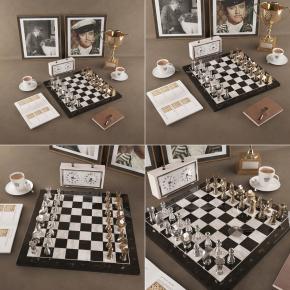 现代国际象棋?#21271;?#30011;像闹钟笔记本咖啡杯组合3D模型【ID:927822915】