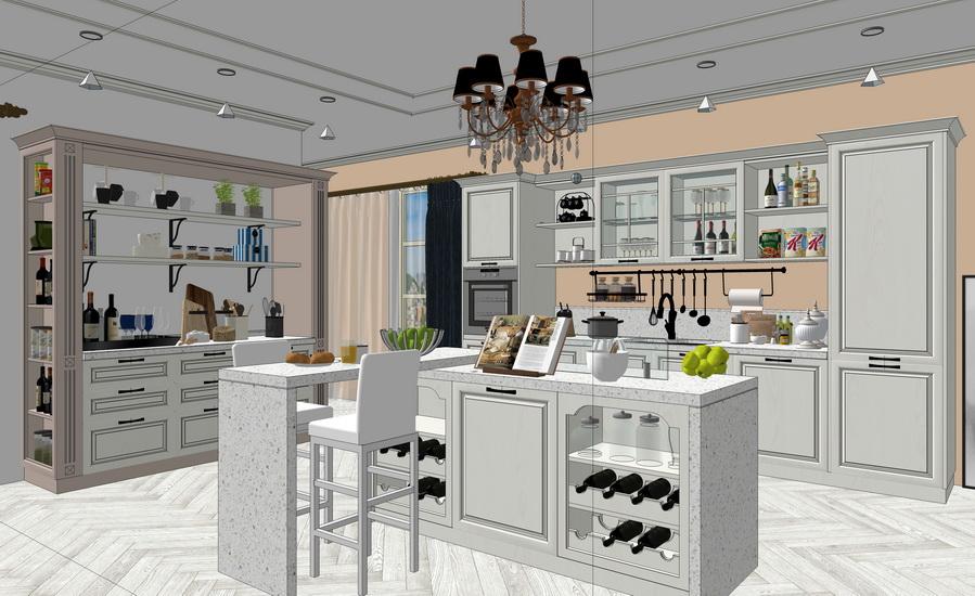 现代厨房橱柜组合SU模型【ID:736339130】