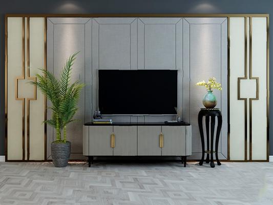 现代电视背景墙3D模型【ID:326232507】