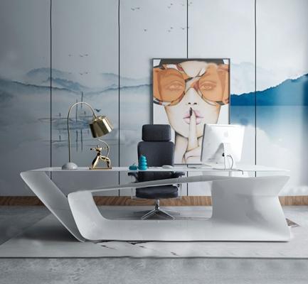 现代办公桌椅3D模型【ID:624893681】