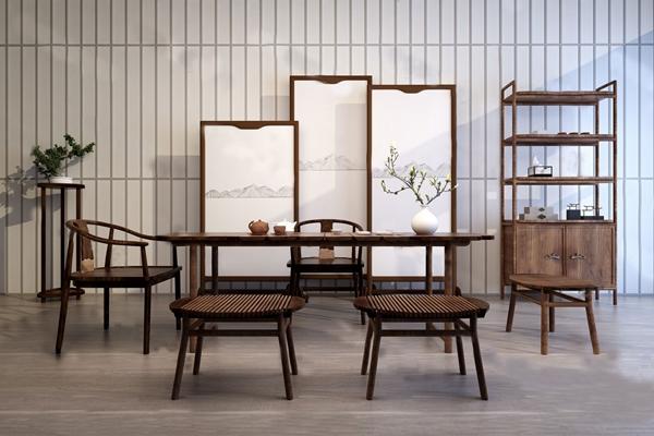 中式茶桌椅3D模型【ID:124896232】
