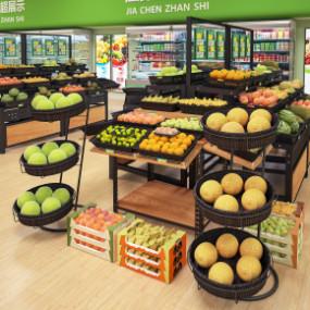 现代超市商场水果展架3D模型【ID:927817203】