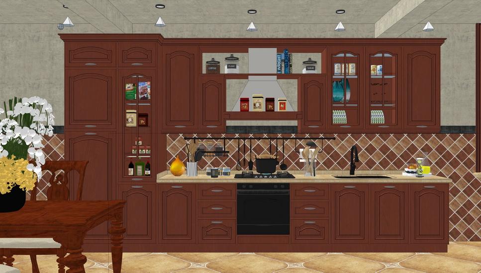 欧式厨房橱柜组合SU模型【ID:736339143】