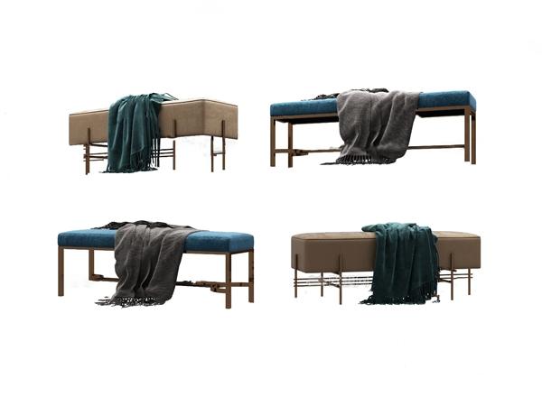 现代轻奢床尾凳3D模型【ID:246659444】