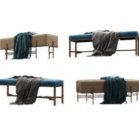 現代輕奢床尾凳3d模型【ID:246659444】