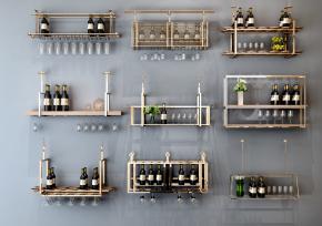 現代金屬酒架酒杯吊架組合3D模型【ID:927821073】