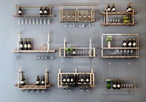 现代金属酒架酒杯吊架组合3D模型【ID:927821073】