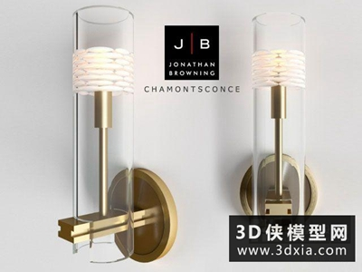 現代金屬壁燈國外3D模型【ID:829450890】