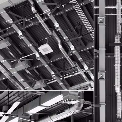 现代工业通风管道风扇摄像头烟感器消防喷淋空调组合3D模型【ID:728467789】