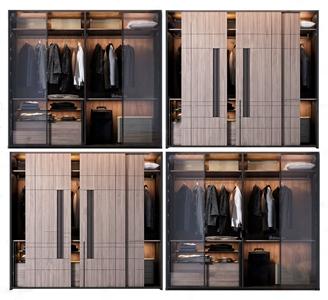 现代奢华衣柜组合3D模型【ID:141632490】
