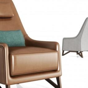 现代金属皮革单人沙发组合3D模型【ID:928563627】