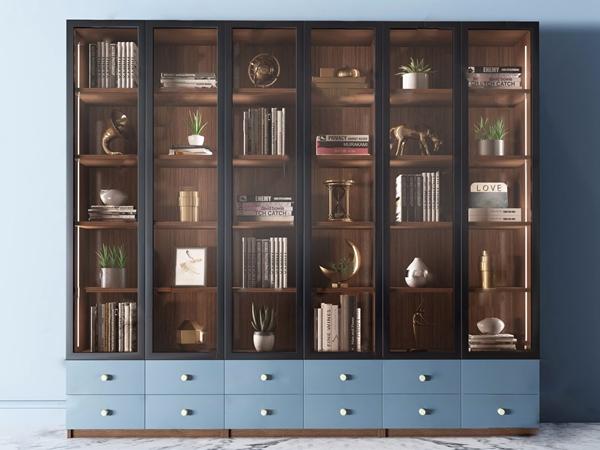 现代轻奢书柜3D模型【ID:146259597】