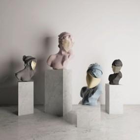 欧式石膏面具女神雕塑3D模型【ID:331401814】