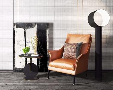 现代皮革单人沙发3D模型【ID:931407655】