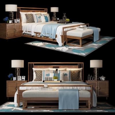 新中式實木雙人床3D模型【ID:728469020】