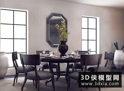 现代圆桌椅组合国外3D模型【ID:729779772】