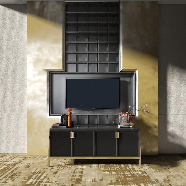 新中式電視柜背景墻組合3D模型【ID:946262981】