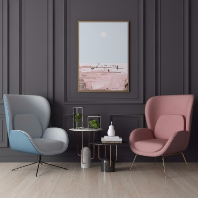 现代布艺休闲沙发椅圆几组合3D模型【ID:227782426】