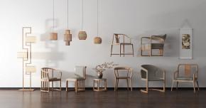 新中式单椅圆几落地灯组合3D模型【ID:227779414】