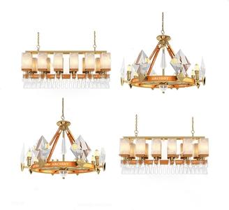 后現代奢華水晶燈3D模型【ID:832411517】