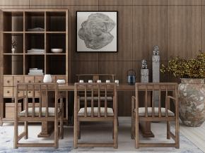 中式實木泡茶桌椅裝飾柜組合3D模型【ID:327787647】