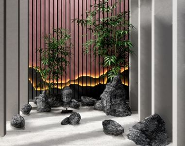 新中式景观石头小品组合3D模型【ID:141713455】