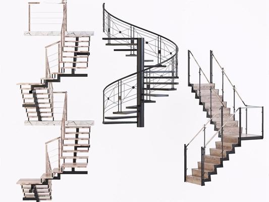 现代楼梯3D模型【ID:728116983】