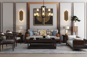 新中式实木沙发茶几吊灯装饰画摆件3D模型【ID:127755044】