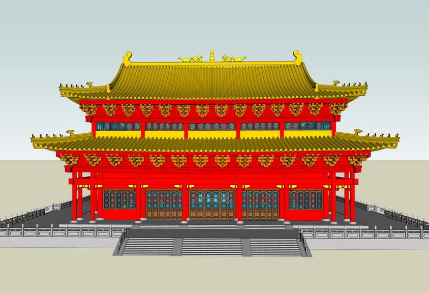 中式大殿SU模型【ID:836340627】
