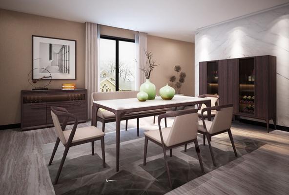 北欧餐桌椅组合3D模型【ID:120607802】