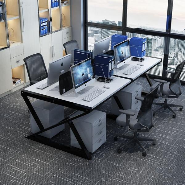 現代屏風卡位辦公桌椅3D模型【ID:247289449】