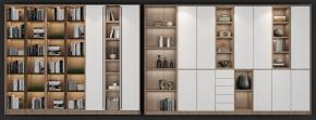 北欧书柜装饰柜组合3D模型【ID:927823545】