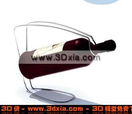 一瓶高档的红酒-架子3D模型