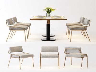 現代輕奢餐桌椅3D模型【ID:850469886】