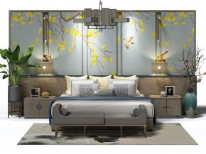 新中式双人床床头柜灯具床头背景墙组合3D模型