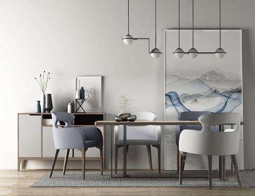 餐桌椅组合3D模型【ID:120018824】