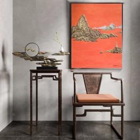新中式椅子花几摆件3D模型【ID:228232438】