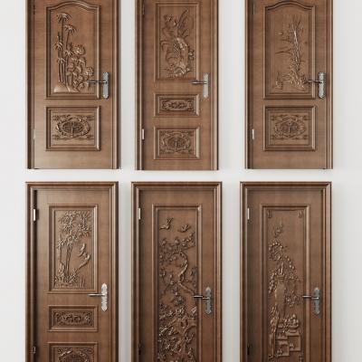 中式雕花实木门组合3D模型【ID:728467547】