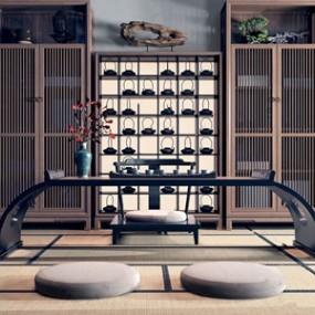 新中式茶桌椅3D模型【ID:834507913】