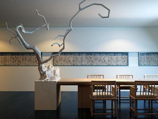 新中式陈设品餐桌椅组合3D模型【ID:327900443】