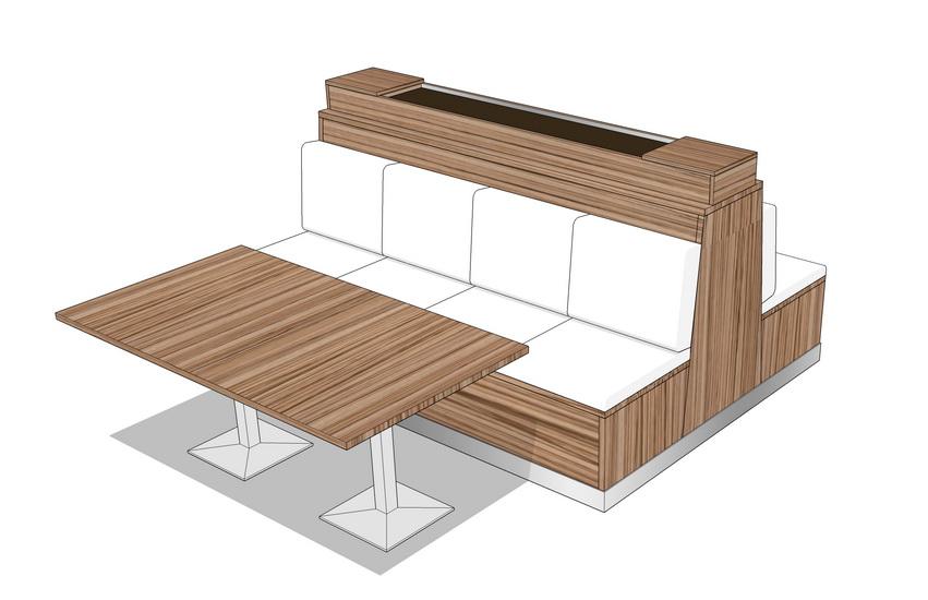 卡座餐桌SU模型【ID:636340666】
