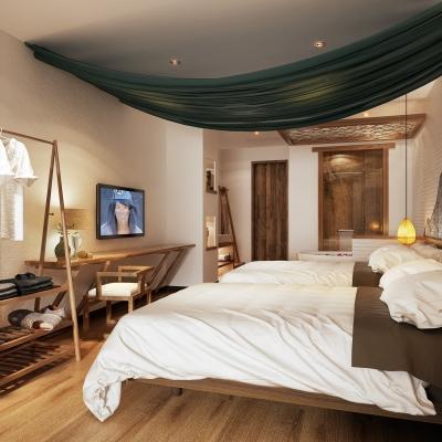 自然風民宿客房雙人間3D模型【ID:428444625】