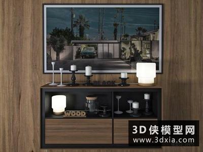 现代装饰品组合国外3D模型【ID:829582053】