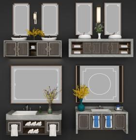 中式洗手台卫浴柜架组合3D模型【ID:927825445】
