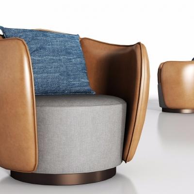 現代皮革單人沙發3D模型【ID:928558647】