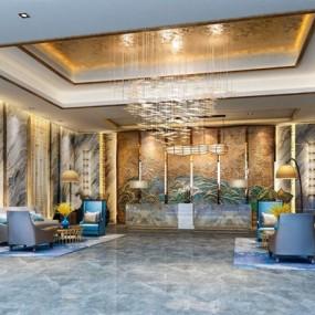新中式酒店大厅前厅接待3D模型【ID:428261254】