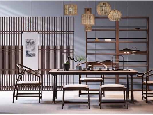 新中式禪意茶室3D模型【ID:127851939】