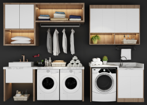 現代洗衣機伴侶盆臺置物柜組合3D模型【ID:127754533】