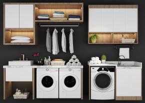现代洗衣机伴侣盆台置物柜组合3D模型【ID:127754533】