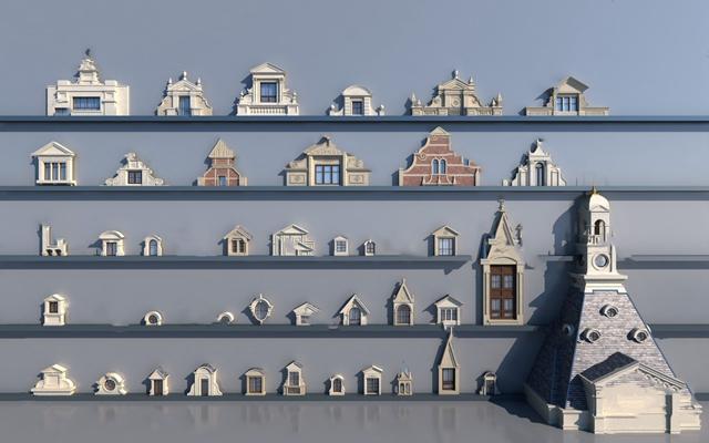 欧式窗3D模型【ID:724885639】